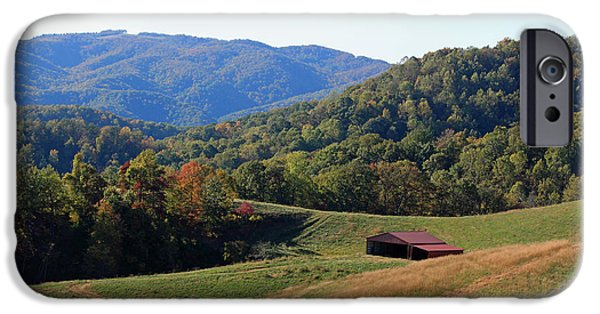 Red Roofed Barn iPhone Cases - Blue Ridge Scenic iPhone Case by Suzanne Gaff