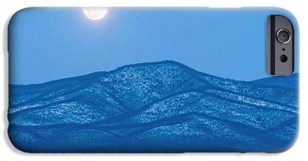 Snowy Day iPhone Cases - Blue Ridge Winter Moon iPhone Case by Lara Ellis