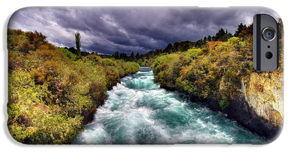 Turbulent Skies iPhone Cases - Blue River iPhone Case by Colin Woods