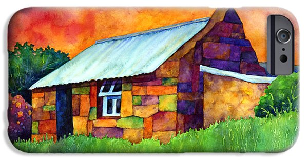 Whimsical. Paintings iPhone Cases - Blue Roof Cottage iPhone Case by Hailey E Herrera