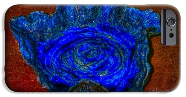 Rose Ceramics iPhone Cases - Blue Rose Dish iPhone Case by Joan-Violet Stretch