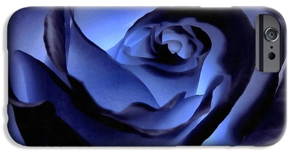 Rosaceae iPhone Cases - Twilight Blue Rose  iPhone Case by Janine Riley