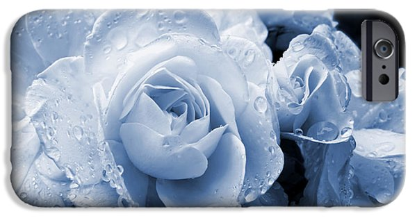 Monotone iPhone Cases - Blue Roses with Raindrops iPhone Case by Jennie Marie Schell