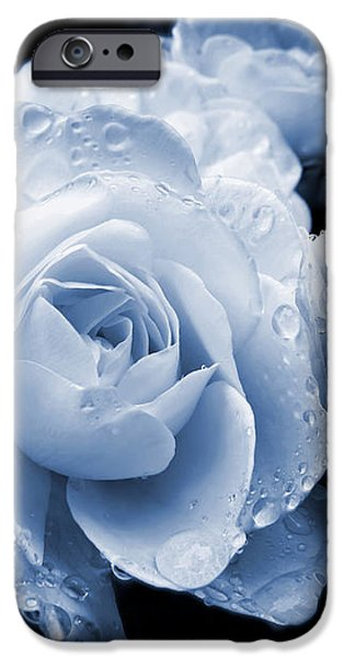 Blue Roses with Raindrops iPhone Case by Jennie Marie Schell