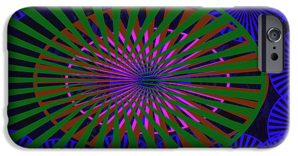 Multimedia iPhone Cases - Blue Rounds and Spirals iPhone Case by Tina M Wenger