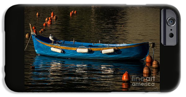 Charly iPhone Cases - Blue Rowboat and a Gull iPhone Case by Prints of Italy