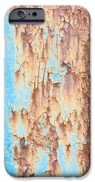 Industry iPhone Cases - Blue rusty metal iPhone Case by Tom Gowanlock
