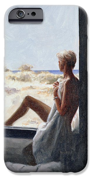 Sheets iPhone Cases - Blue Sea Dream Oil On Canvas Board iPhone Case by John Worthington