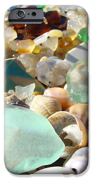 Blue Seaglass Beach art prints Shells Agates iPhone Case by Baslee Troutman