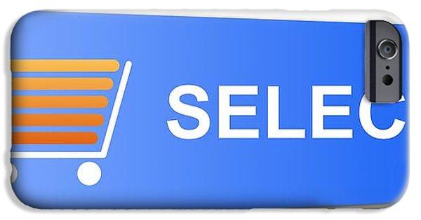Business Digital iPhone Cases - Blue Select Button iPhone Case by Henrik Lehnerer