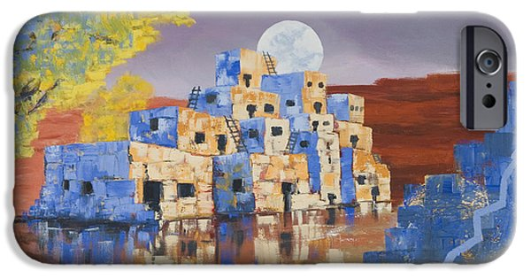 Hopi iPhone Cases - Blue Serpent Pueblo iPhone Case by Jerry McElroy