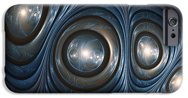 Fractal Orbs iPhone Cases - Blue shell iPhone Case by Martin Capek