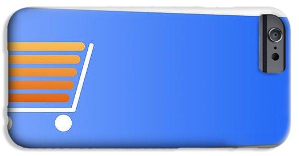Business Digital iPhone Cases - Blue Shopping Cart Button iPhone Case by Henrik Lehnerer