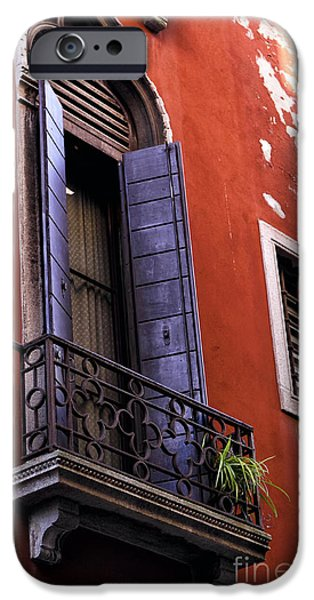 Venetian Balcony iPhone Cases - Blue Shutter in Venice iPhone Case by John Rizzuto