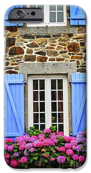 Fragment iPhone Cases - Blue shutters iPhone Case by Elena Elisseeva