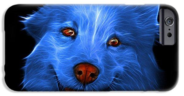 Mixed Labrador Retriever Paintings iPhone Cases - Blue Siberian Husky Mix Dog Pop Art - 5060 BB iPhone Case by James Ahn