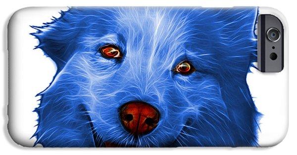 Mixed Labrador Retriever iPhone Cases - Blue Siberian Husky Mix Dog Pop Art - 5060 WB iPhone Case by James Ahn