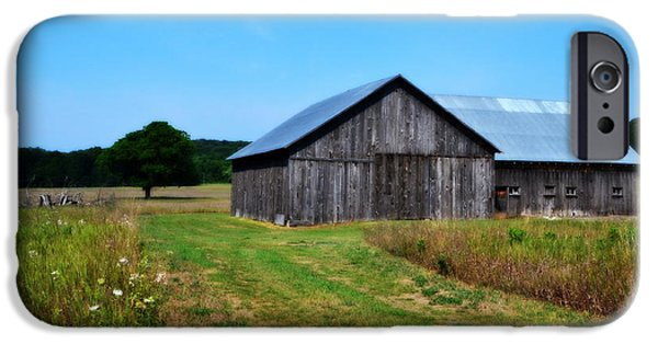 Old Barns iPhone Cases - Blue Skies  iPhone Case by Michelle Calkins