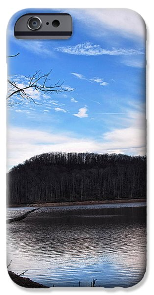 Landscape Posters iPhone Cases - Blue Skies Over Beech Fork Lake iPhone Case by Chris Flees