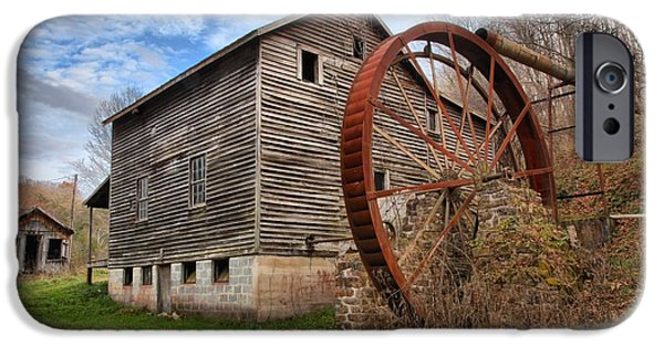 Grist Mill iPhone Cases - Blue SKies Over McClungs Mill iPhone Case by Adam Jewell