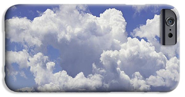 Abstract Forms iPhone Cases - Blue Sky And Building Storm Clouds Panorama Fine Art Print iPhone Case by Keith Webber Jr
