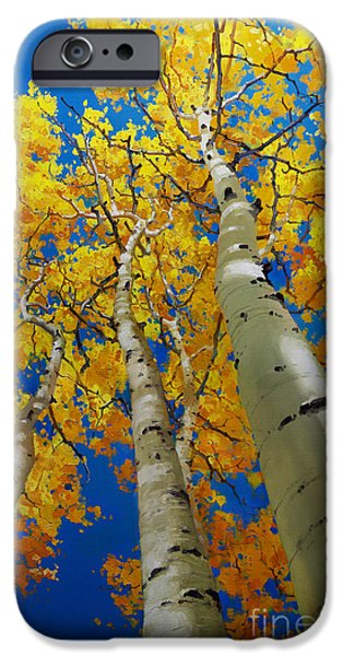 Recently Sold -  - Tree Art Print iPhone Cases - Blue Sky and Tall Aspen Trees iPhone Case by Gary Kim
