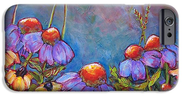 Floral Still Life Paintings iPhone Cases - Blue Sky Flowers iPhone Case by Blenda Studio