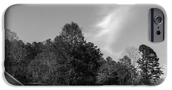 Headstones iPhone Cases - Blue Sky Serenity the End Blk and wht iPhone Case by Robert J Andler