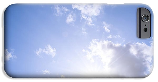 Sun Flare iPhone Cases - Blue sky with sun and clouds iPhone Case by Elena Elisseeva