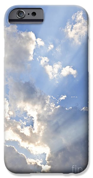 Beautiful Skies iPhone Cases - Blue sky with sun rays iPhone Case by Elena Elisseeva