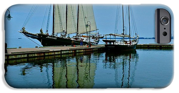 Yorktown Virginia iPhone Cases - Blue Sloop Reflections iPhone Case by Jean Doepkens Wright
