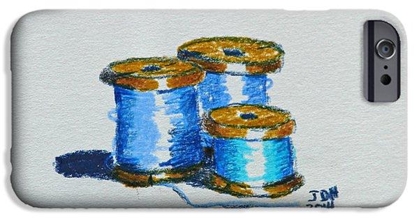Patriotic Art Drawings iPhone Cases - Blue spools of thread iPhone Case by Joseph Hawkins