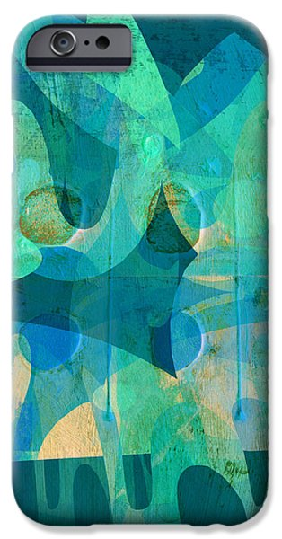 Blue Square Retro iPhone Case by Ann Powell