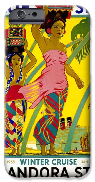 Fashion Design Art iPhone Cases - Blue Star Vintage Travel Poster iPhone Case by Jon Neidert