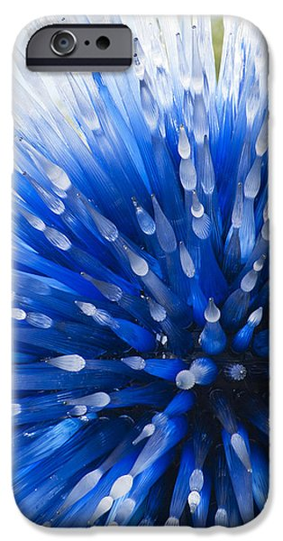 Star Glass iPhone Cases - Blue Starburst iPhone Case by Caroline Roberti