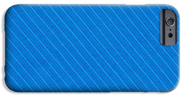 Texture iPhone Cases - Blue Striped Diagonal Textile Background iPhone Case by Keith Webber Jr