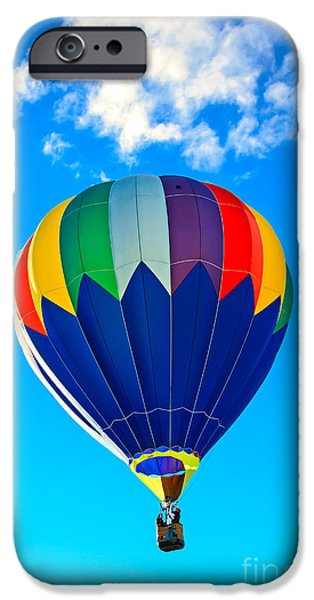 Hot Air Balloon iPhone Cases - Blue Striped Hot Air Balloon iPhone Case by Robert Bales
