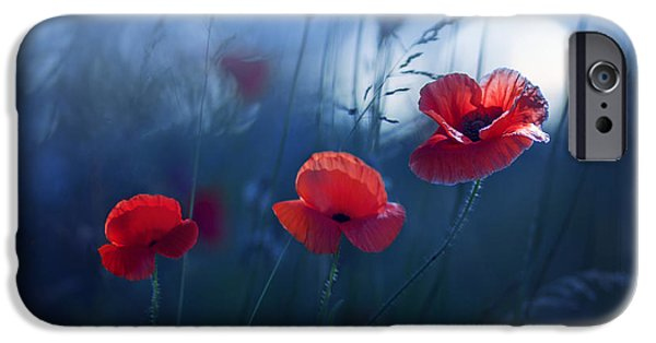 Poppies iPhone Cases - Blue Summer iPhone Case by Magda  Bognar