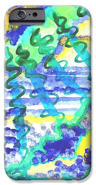 Sun Rays Paintings iPhone Cases - Blue Sunburst iPhone Case by Sara Srubar-Erb