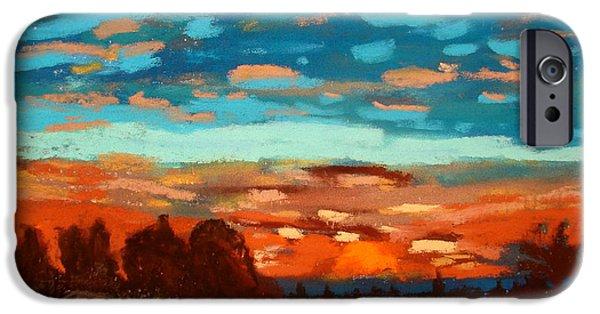 Buy Pastels iPhone Cases - Blue Sunset Pastel iPhone Case by Joseph Hawkins