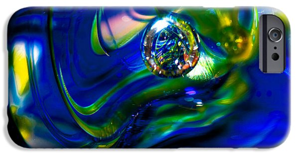 Glass Reflections iPhone Cases - Blue Swirls iPhone Case by David Patterson