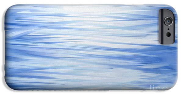 Abstract Digital iPhone Cases - Blue Swoops Horizontal Abstract iPhone Case by Andee Design