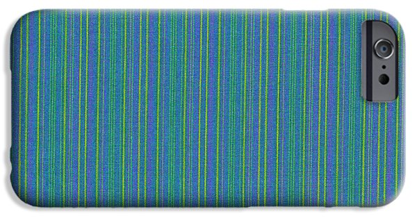 Textured Digital Art iPhone Cases - Blue Teal And Yellow Striped Textile Background iPhone Case by Keith Webber Jr