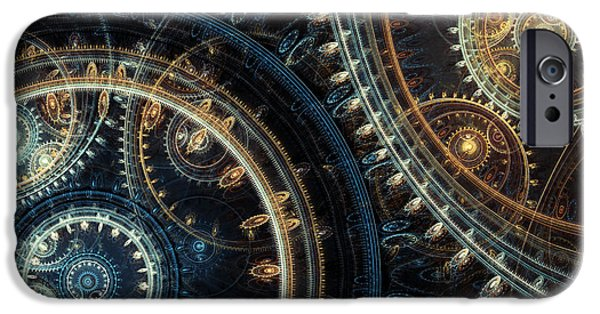 Mechanism iPhone Cases - Blue time iPhone Case by Martin Capek