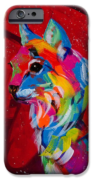 Bobcats Paintings iPhone Cases - Blue Tips iPhone Case by Tracy Miller