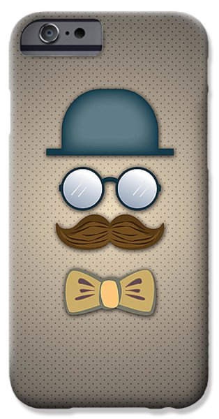 Blue Digital iPhone Cases - Blue Top Hat Moustache Glasses and Bow Tie iPhone Case by Ym Chin