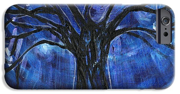 Genevieve Esson iPhone Cases - Blue Tree At Night iPhone Case by Genevieve Esson