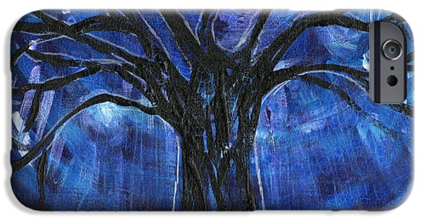Esson iPhone Cases - Blue Tree At Night iPhone Case by Genevieve Esson