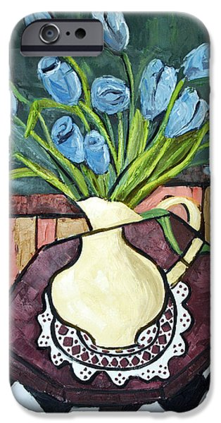 Print On Acrylic iPhone Cases - Blue Tulips On Octagon Table iPhone Case by Anthony Falbo