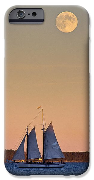 Windjammer iPhone Cases - Blue under a Yellow Moon iPhone Case by Benjamin Williamson
